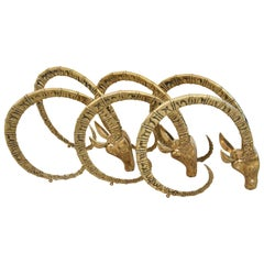 Set of Three Brass Ibex Figures in the Style of Alain Chervet