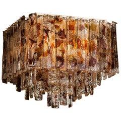 1960 Multi Colored Italian Squared Venini Murano Crystal Ceiling Lamp by Mazzega