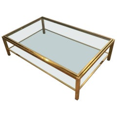 Large 1970s Brass and Glass Coffee Table Attributed to Willy Rizzo