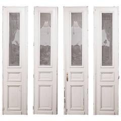 Set of Four Antique Doors with Etched Glass