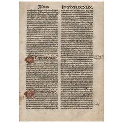 """Holy, Holy, Holy"" Isaiah 6, 1482 Latin Bible Leaf Medieval Incunabula"