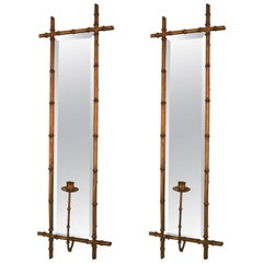 Pair of Hollywood Regency Style Faux Bamboo Wall Sconces
