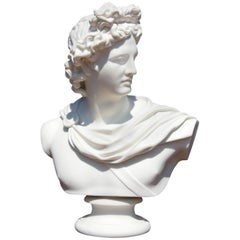 Bust of Apollo Belvedere 19th Century Parian Sculpture