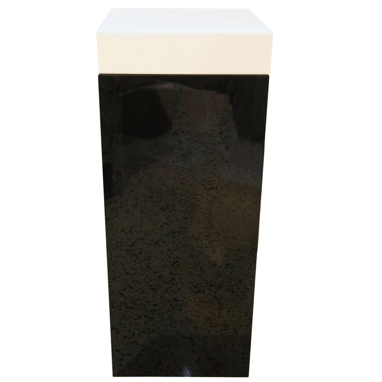Illuminated Pedestal in Black and White Lucite
