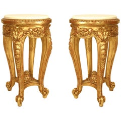Pair of French Regence Style '19th Century' Gilt and Carved End Tables