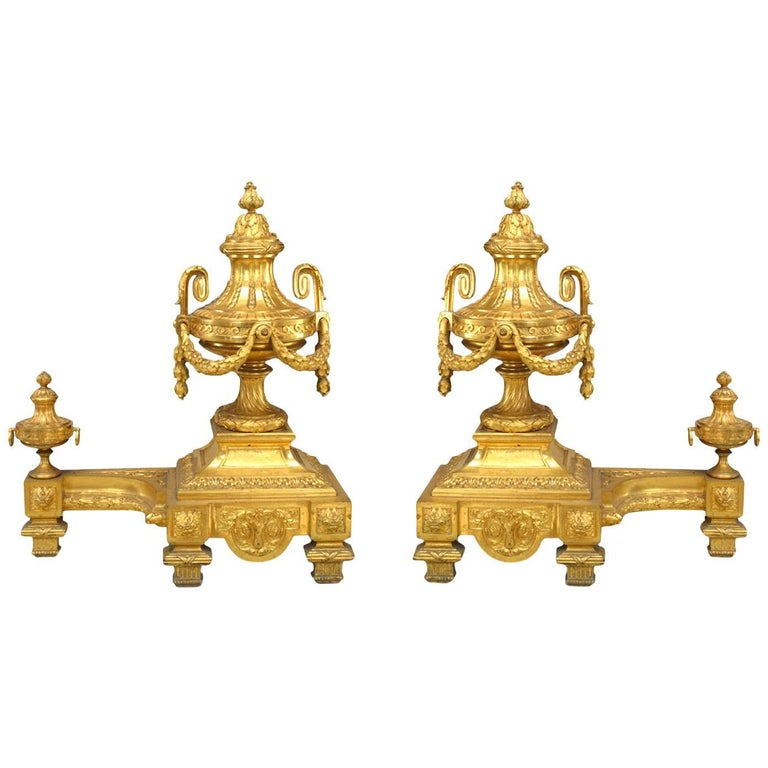 Pair of Louis XVI Style '19th Century' Bronze Doré Urn and Festoon Andirons