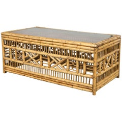 Midcentury Rectangular Bamboo Chippendale Coffee Table