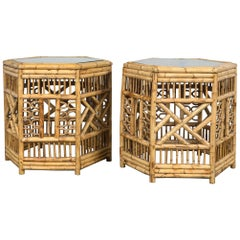 Pair of Midcentury Bamboo Chippendale Hexagonal Side Tables