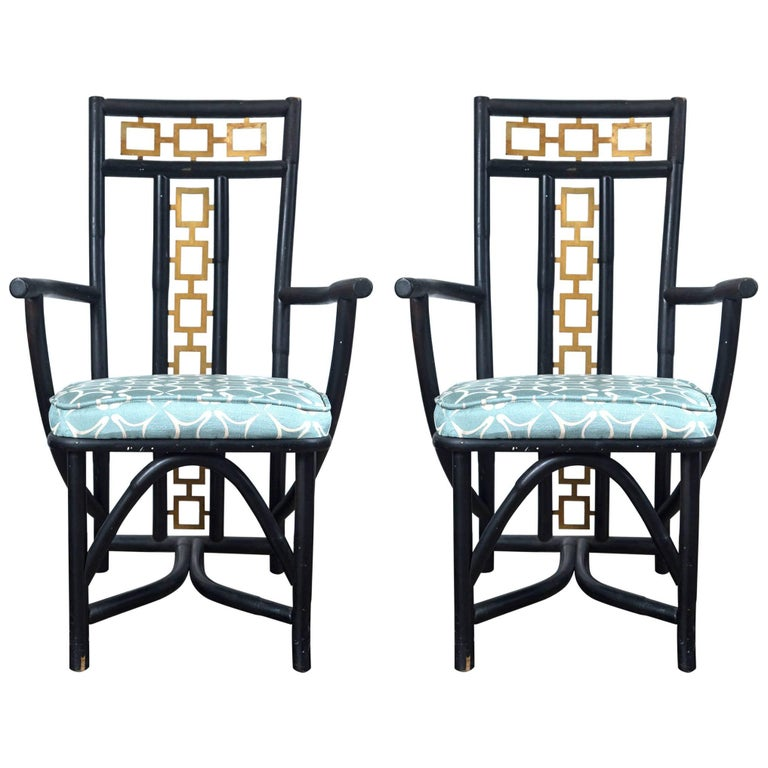 Pair of Asian Style Armchairs Attributed to James Mont