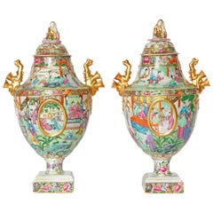 Chinese Export Covered Urns, Pair
