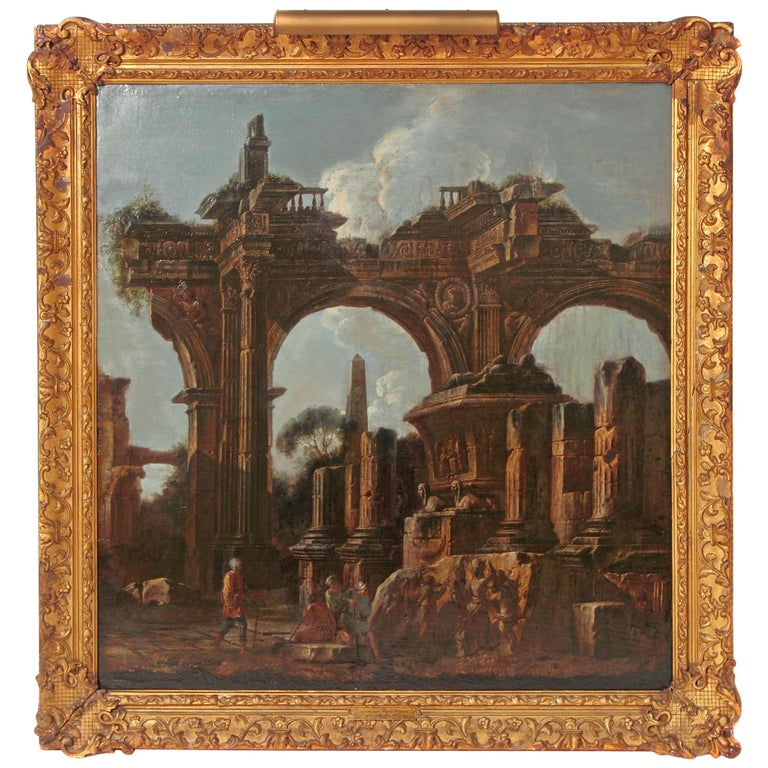 Baroque Painting or Classical Ruins Attributed to Giovanni Ghisolfi For Sale