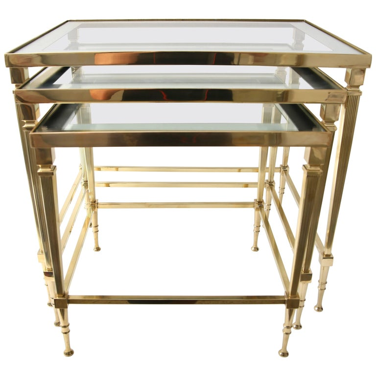 Maison Jansen Nesting Tables in Polished Brass and Glass