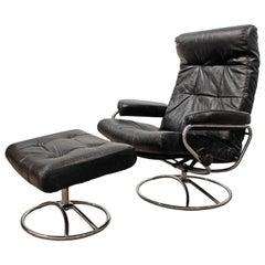 Midcentury Scandinavian Modern Ekornes Stressless Chrome Lounge Chair & Ottoman