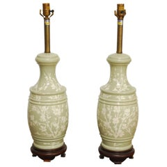 Pair of Chinese Celadon Style Vase Table Lamps by Marbro