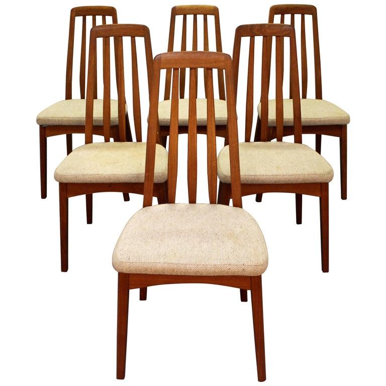 Set of Six Midcentury Danish Modern Hornslet Style Teak Dining Chairs