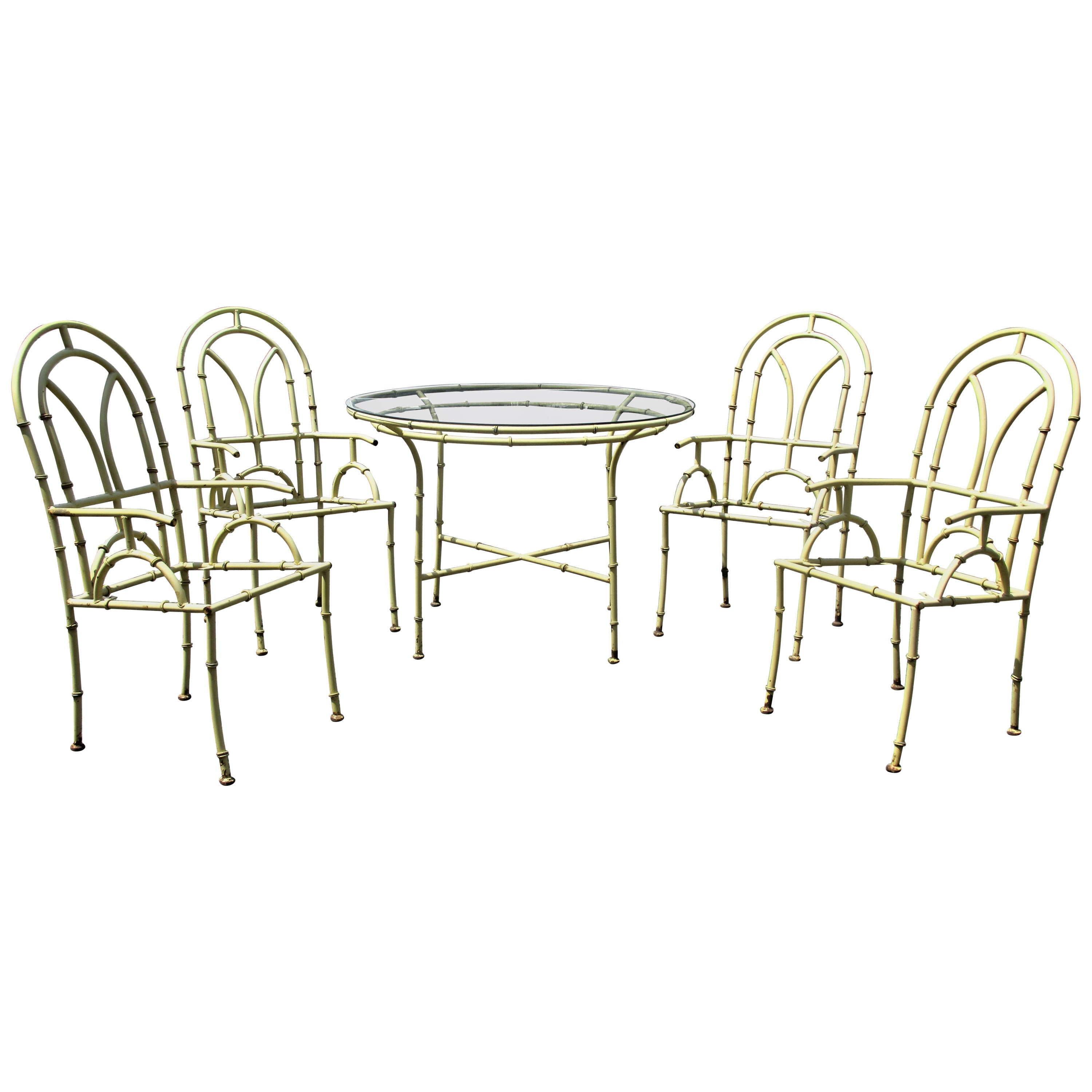 Hollywood Regency Faux Bamboo Metal Table and Chairs
