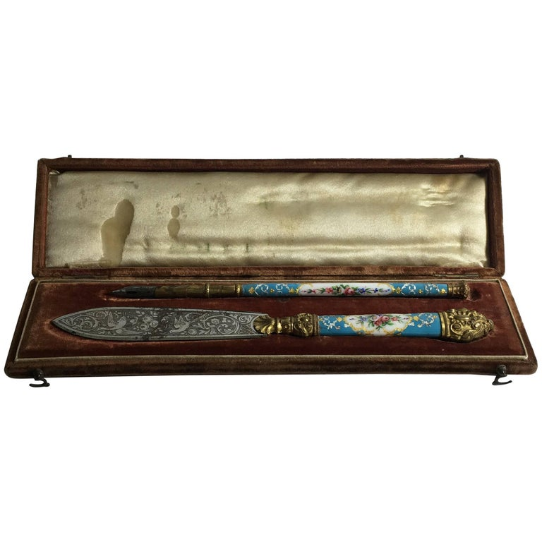 19th Century French Napoleon III Metal and Blue Enamel Letter Opener and Pen