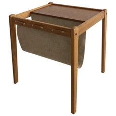 Midcentury Teak Danish Side Table with Magazine Sling