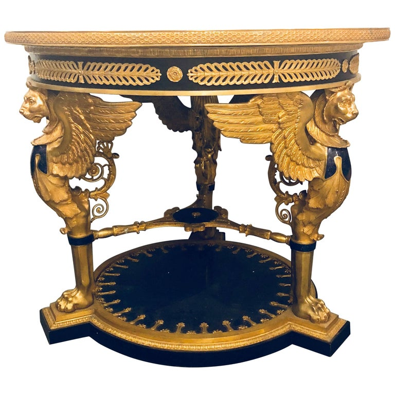 Large Empire Style Gilt and Patinated Bronze and Lapis Lazuli Centre Table