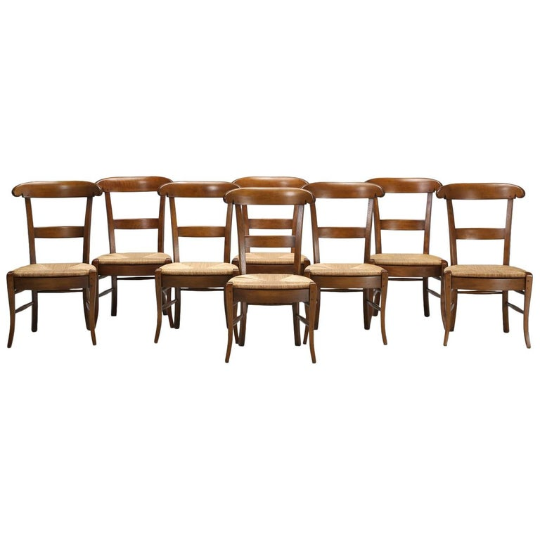 French Country Side Chairs, Handmade in France, Set of 'Eight' in Stock
