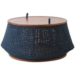 Modern Style, Centre Tables, Stool, Container All in One in Solid Wood and Rope