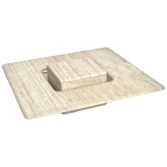 French Travertine Minimalist Low Coffee Table with Floating Cube circa 1970