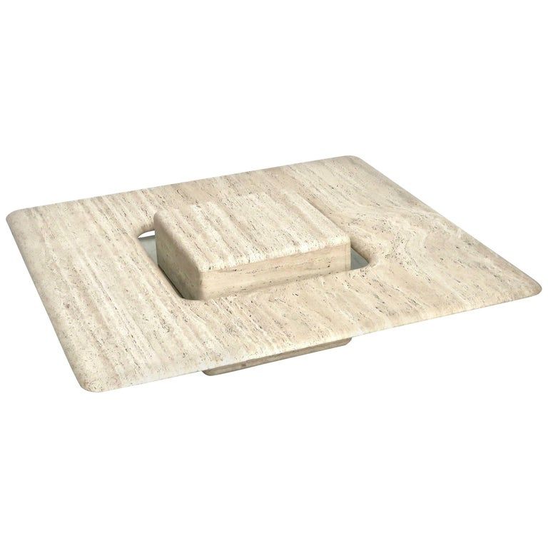 French Travertine Minimalist Low Coffee Table with Floating Cube circa 1970 For Sale
