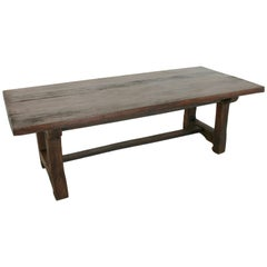 French Artisan-Made Oak Farm Table Dining Table Made from 18th Century Beams