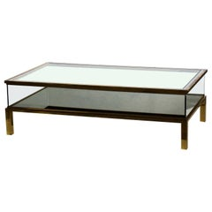 1970s by Maison Jansen Hollywood Regency Sliding Design Brass Coffee Table