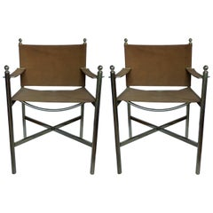 Midcentury Campaign Style Brass Chairs, Pair