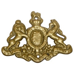 Vintage Cast Brass Coat of Arms Wall Mount Plaque