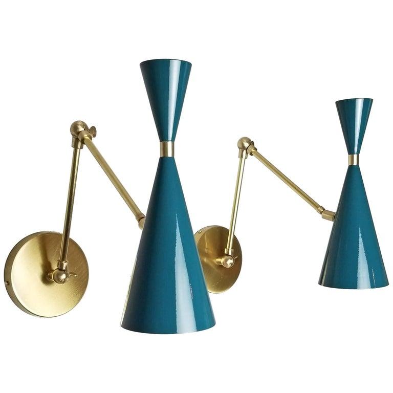 Italian Modern Brass and Blue Enamel Monolith Reading Lamp Blueprint Lighting