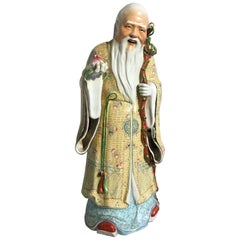 Chinese Republic Period Porcelain Figure of Shouxing, the God of Longevity