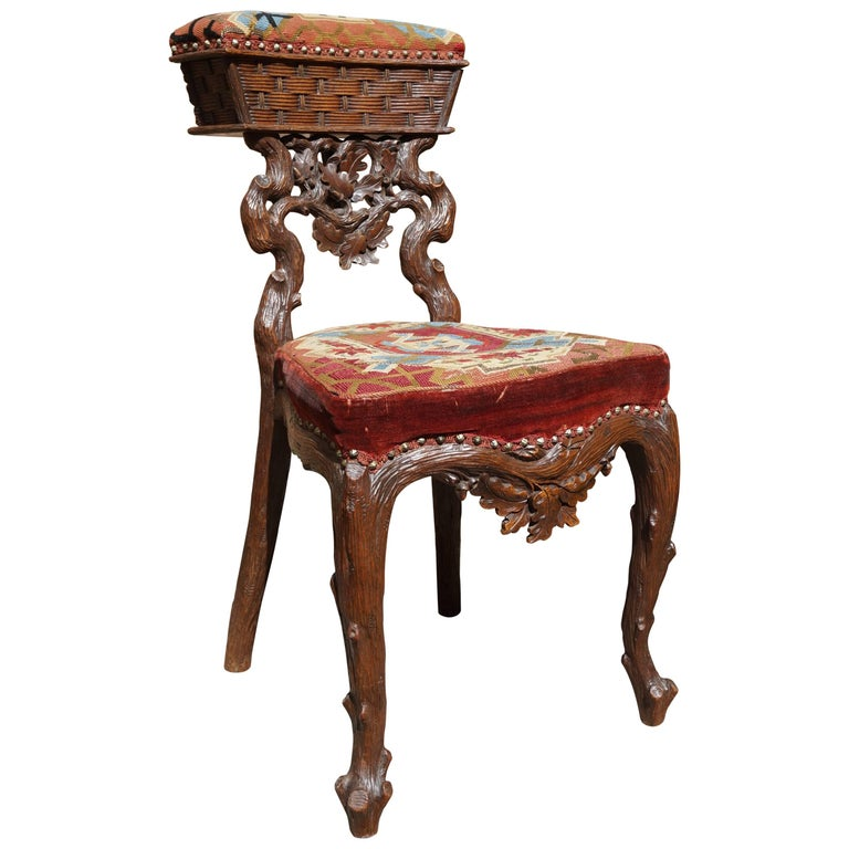 Stunning Antique Black Forest Smoking Chair by Horrix with Original Upholstery