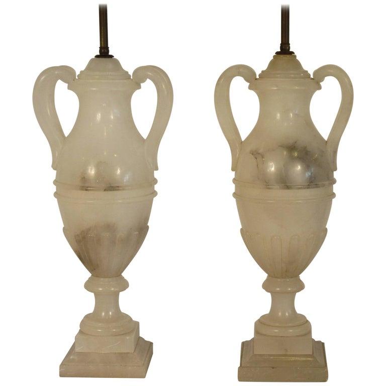 Pair of 1940s Alabaster Classical Urn Lamps