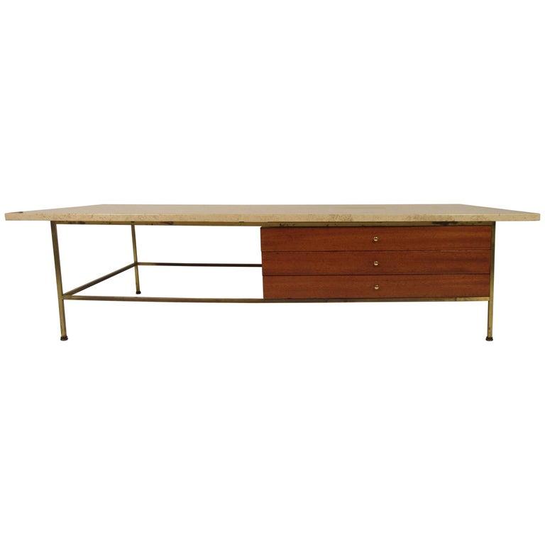 1960s Paul McCobb Travertine/ Brass Coffee Table for Calvin