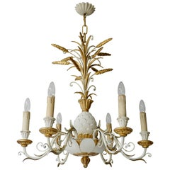 1950s Carved Giltwood Italian Gold and White Chandelier
