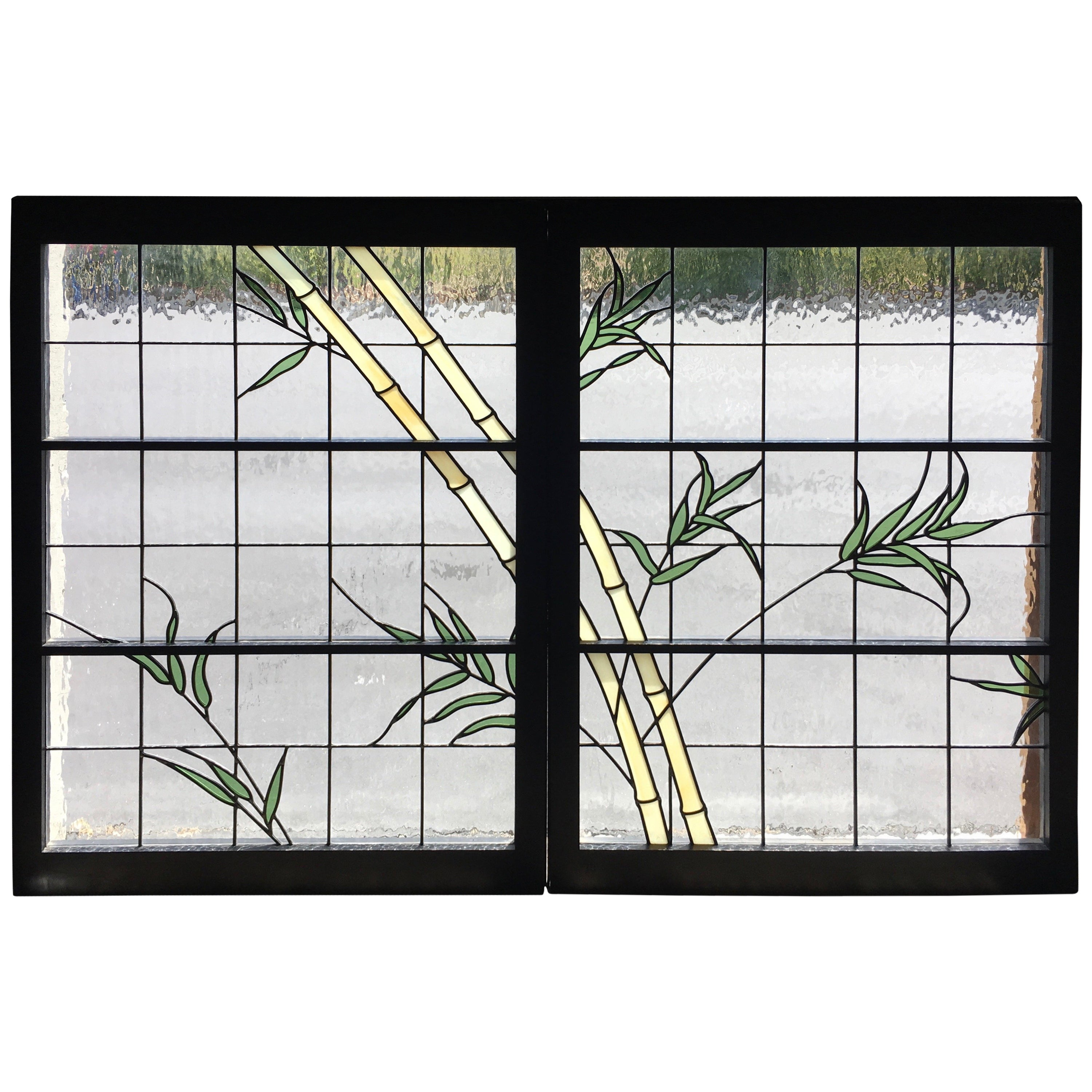 Pair of Leaded Glass Windows