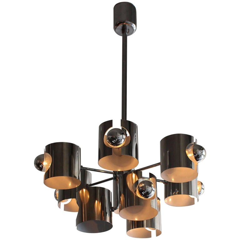 Gaetano Sciolari Chrome Chandelier