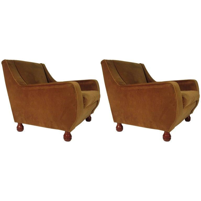 Pair of 1960s Italian Club Chairs