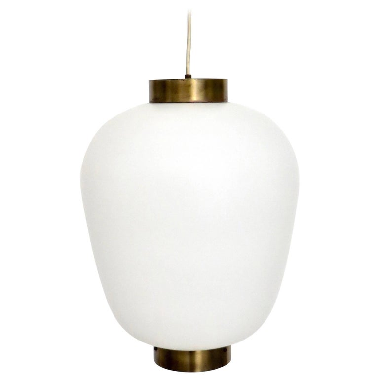 Stilnovo Italian Pendant Light Fixture with Brushed Opaque Glass Diffuser