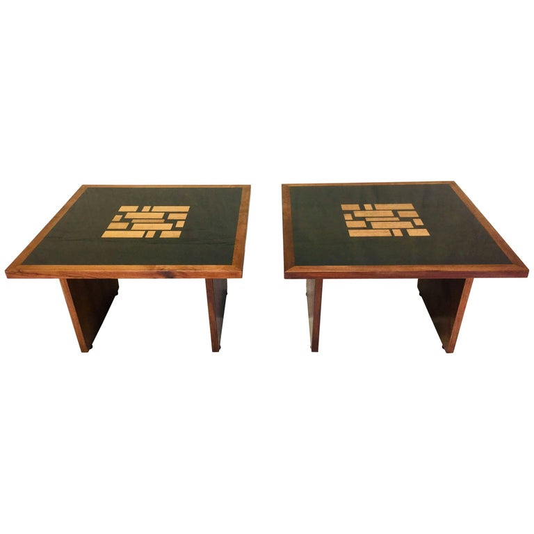 Pair of Frank Lohloff Walnut and Black Resin Mosaic End Tables California Studio