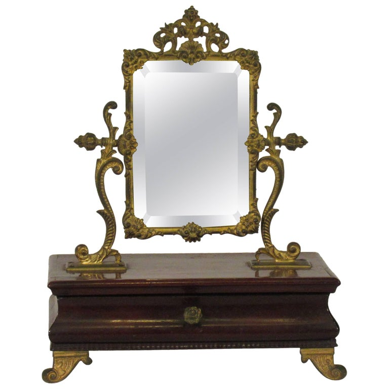 1910 French Jewelry Box with Brass Mirror