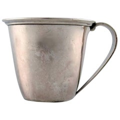 Baby Cup with Handle by Evald Nielsen Hammered Sterling Silver, 1920s