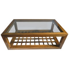 Glass Top wood Rectangle Cocktail table