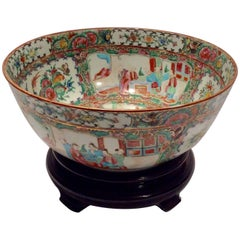 Late Qing Dynasty Rose Medallion Punch Bowl