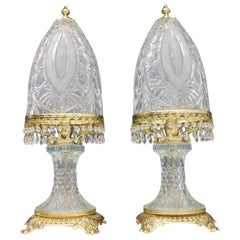 Baccarat Table Lamps by Valéry Klein in Glass and Gilded Brass France 1960s