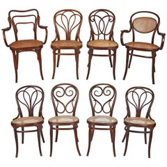 Collection of Eight Viennese Secessionist Dining Chairs Thonet, Mundus, J&J Kohn