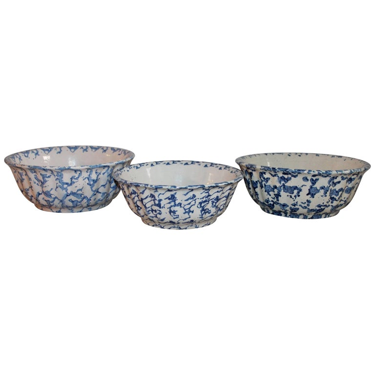 Three 19th Century Sponge Ware Pottery Scalloped Bowls