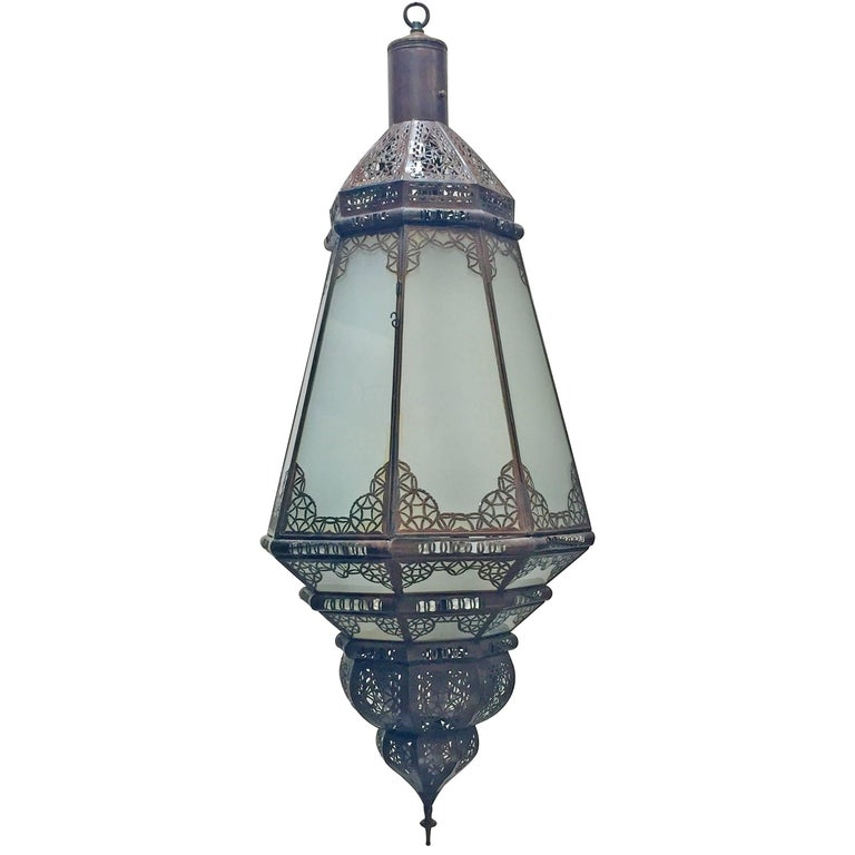 Moroccan Vintage Metal and Frosted Glass Light Fixture